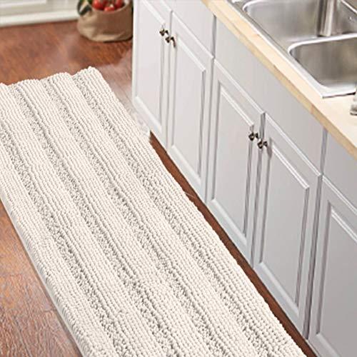 Non Slip Shaggy Chenille Microfibers Bathroom Rug Black Bathroom Mat Extra Long Bath Rug 59 x 20 Kitchen Rugs and Mats, Super Water Absorbent & Soft Washable Bath Rug for Bathroom, Ivory