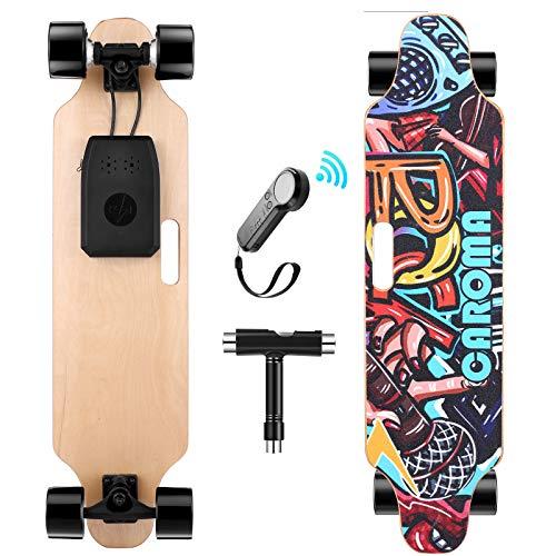 Caroma Elektrisches Skateboard mit ferngesteuertem 700-W-Longboard-Motor, Elektro Skateboard mit DREI Geschwindigkeitsmodi, 37