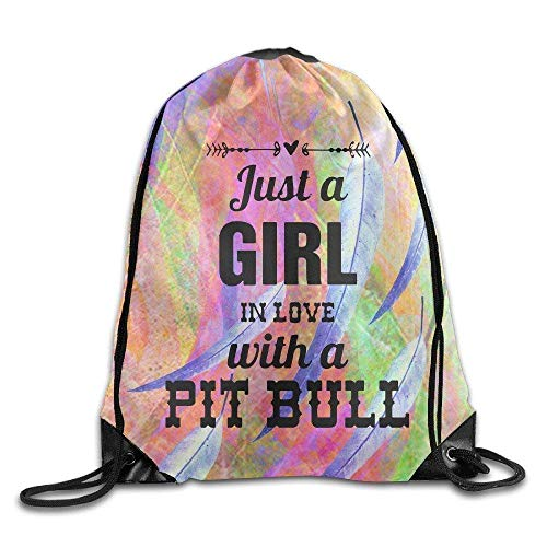 Etryrt Mochilas/Bolsas de Gimnasia,Bolsas de Cuerdas, Gym Just A Girl In Love with A Pit Bull 2016 Drawstring Backpack Beam Port Bags