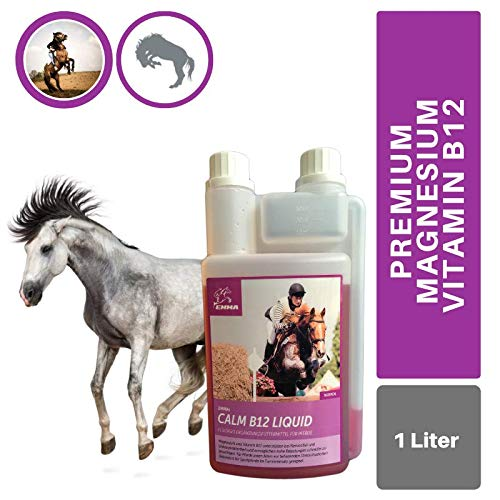 EMMA® Vitamin B12 I Magnesium Pferd I Calm zur Beruhigung Nerven I L-Tryptophan Zink flüssig I bei Angst Stress schreckhaftes Pferd I unterstützt Gelassenheit bei nervösen Pferde Pony 1L
