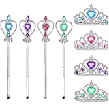 4 Piezas Princesa Tiara Accesorios, Princesa Corona Conjunto, Varita mágica, Sceptre, para Decoración Navideña, Juegos de Rol, Fiestas Temáticas