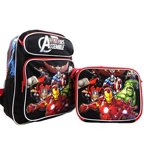 Kids Boys Licensed Avengers Iron Man Hulk Thor 14' Medium School Backpack Book Bag SET Black Red