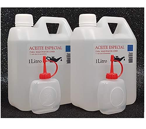 Aceite maquina de coser. Especial Incoloro - Lubricante para Maquinas de Coser y mecanismos varios. 2 Litros (830+830 gramos) + 2 Aceiteras de 50cc. vacias.