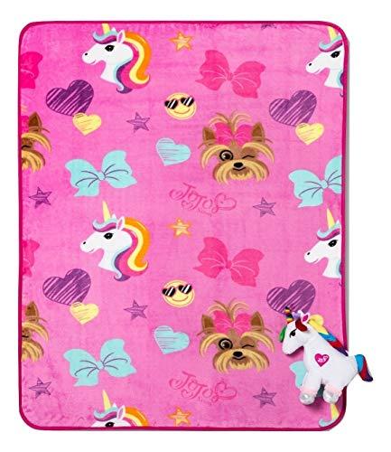 JoJo Siwa Unicorn Character Plush Pillow Hugger and Throw Blanket 2 pc Set