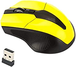 Computer Mouse, 2.4GHz 1600 DPI Ergonomic Wireless Optical Mouse USB 2.0 Receiver for PC Laptop - Yellow
