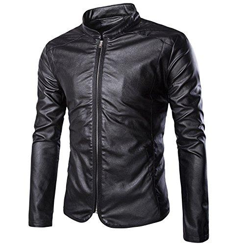 WSLCN Homme Veste Simili Cuir Moto Blouson Motard Zippé Col Cassé Jacket Cyclisme Imitation Cuir Imperméable Noir FR 52 (Asie L)