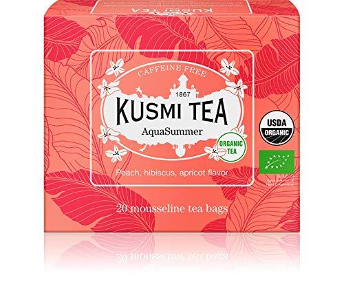 Kusmi Tea AquaSummer Bio - Hibiskus- und Früchtemischung mit Pfirsich und Aprikosen Geschmack - Früchtetee im Beutel - Heiß oder als Eistee genießen - 20 Musselin Teebeutel