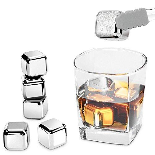 8pzs Cubitos de Hielo Reutilizables,Synerky Cubos Hielo Acero Inoxidable Cubos Enfriadores Whisky...