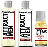PhermaLabs Pheromones Mini Travel Kit for Women to Attract Men includes: Body Lotion, Body Wash and Body Oil