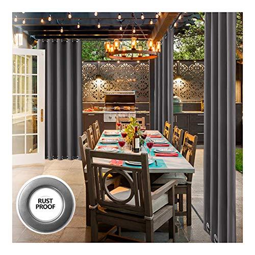 GDMING Draussen Sichtschutz Vorhangpaneel Wasserdicht Blackout Dekoration Vorhänge Zum Markise Pergola Garten Terrasse Tüllenoberteil Polyester, 32 Größen (Color : Gray, Size : 1.5x2.1m)