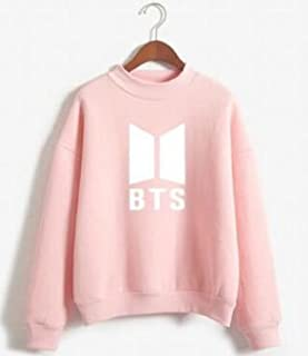7TECH BTS Letter Pattern Printed Long-Sleeved Round Neck Plus Velvet Sweater