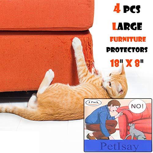 PetIsay Möbelschoner von Katzen (4 Stück, A/B: 46/20.5cm), Selbstklebende Bögen mit Drehstiften, Katzenabwehr für Möbel - Katzenabwehr - Kratzschutz - Katzenmöbel