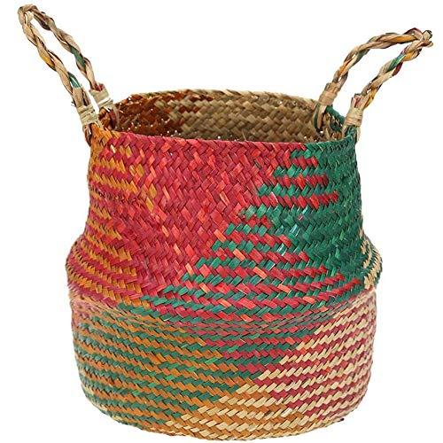 Aufbewahrungskorb aus Seegras, mit Griffen, gewebt, faltbar, für Wäsche, Lebensmittel, Picknick, Strandtasche (S)