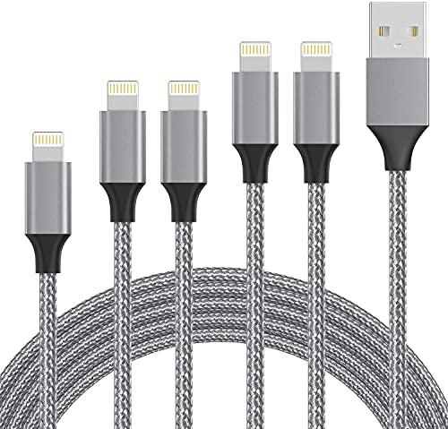 Cargador para iPhone, 5 unidades, 0,3 m+1 m+1 m+1,5 m+1,5 m, cable de carga y sincronización compatible con iPhone 12/12 Mini/12 Pro/11/11 Pro/X/XS/XR/XS Max/8/8 Plus/7/7 Plus/6 y más