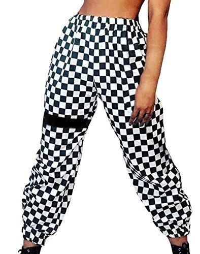 Mujer Pantalones Pantalones Verano Largos Elegantes Elastisch Bund A Cuadros Pants Casuales Moda Hip Hop Basicas Pantalones De Tela Trousers Disfraz (Color : Negro, Size : S)