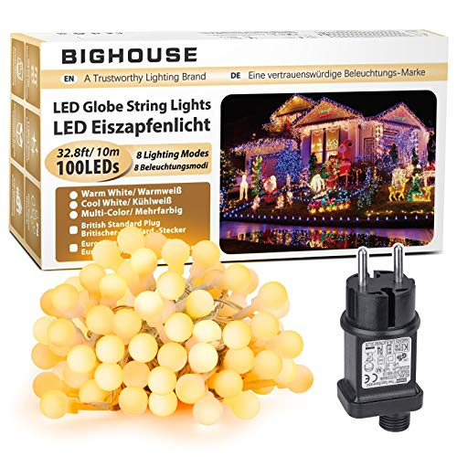 LED Lichterkette, BIGHOUSE 10M 100 LEDs Warmweiße Lichterkette Außen mit Stecker, 8 Modi, Merk Funktion, Wasserdichte IP44, Kugel Lichterkette für Innen/Außen Dekoration
