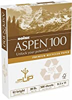 Aspen 100% Recycled Copy Fax Laser Inkjet Printer Paper, 8 1/2 x 11 Letter Size, 92 Bright White, 20 lb., Ream, 500 Total Sheets (054922) by Boise