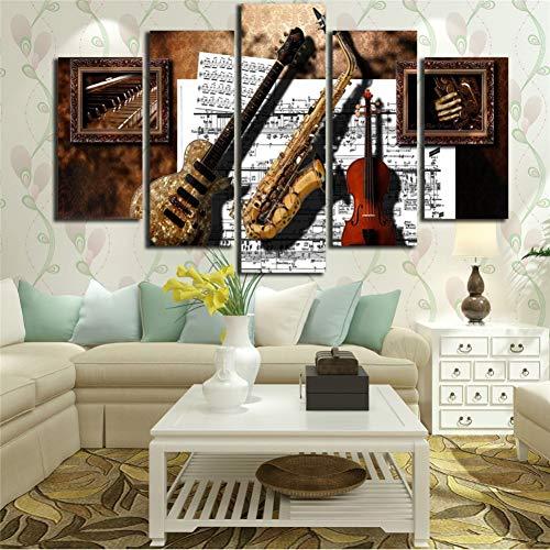 WHFDH Muur Kunstdruk Decoratie 5 stuks muziekinstrument Gitaar Saxofoon Viool Noten Schilderen Canvas Afbeelding 20x35 20x45 20x55cm No Frame