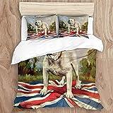 LISUMAL Ropa de Cama - Juego de Funda nórdica Mantener Caliente,Bulldog Blanco Perro de la Escuela Inglesa afuera al Aire Libre Collar de pie Bandera británica árboles nubes200 x 200cm