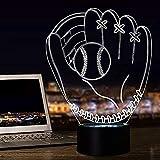 Regalos de béisbol para niños, 3D guantes de noche ilusión lámpara de mesita de noche 16 colores cambiantes con control remoto para niño, día de San Valentín, Navidad, Acción de Gracias y Navidad