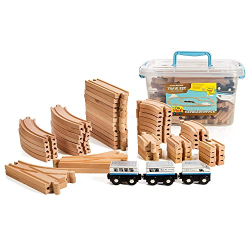 On Track USA Wooden Train Set 55 Piece Train Track Expansion Pack Accessories Set with Magnetic Engine Train Cars, Compatible with Thomas, Brio, Obrium and All Major Brands, Comes in Storage Container
