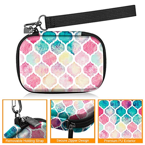 Fintie Carrying Case Compatible with HP Sprocket Photo Printer - Hard EVA Shockproof Storage Portable Travel Bag w/Inner Pocket, Removable Strap and Metal Hook (Moroccan Love)