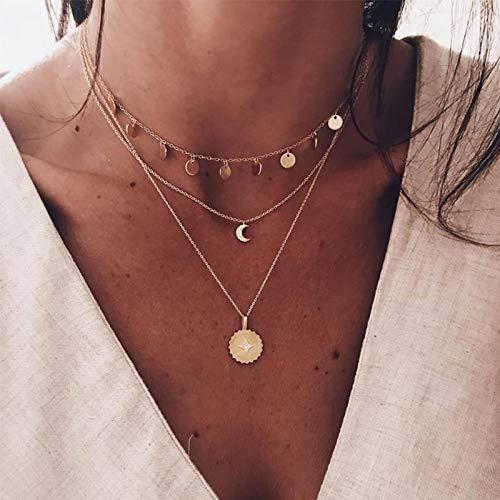 Edary Boho, mehrlagige Pailletten, Quasten-Halskette, Mond-Anhänger, Kette, Goldschicht, Münzhalsketten, Schmuck, verstellbar für Frauen und Mädchen