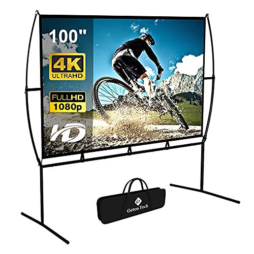 Projector Screen with Stand Foldable Portable Movie Screen 100 Inch(16:9), HD 4K Double Sided Projection Screen Indoor Outdoor Projector Movies Screen for Home Theater (100 Inch) … (Renewed)