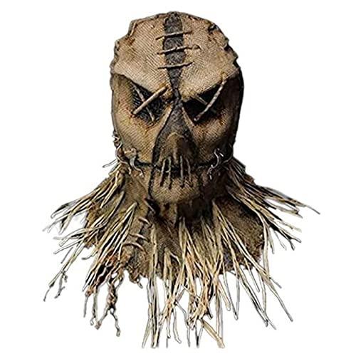 LHGXQ-Dp Máscara Espantapájaros Halloween, Máscara Halloween Espeluznante Y Malvada, Máscara Látex Fiesta Disfraces Cosplay Pintada A Mano Lino,C,One Size