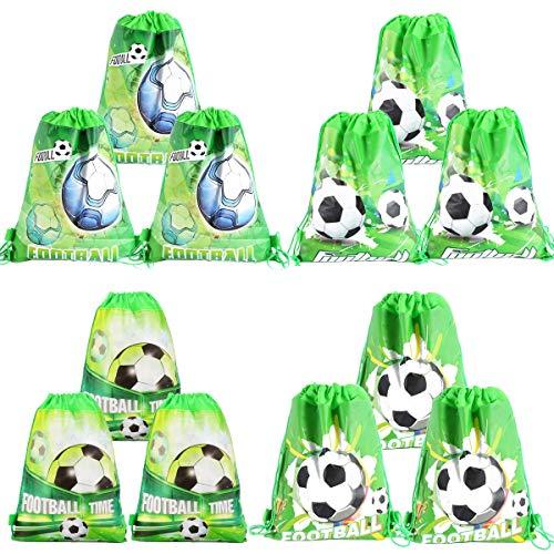 Osuter 12PCS Zaino con Coulisse Bambini Modello di Calcio Sacchetti Regalo Compleanno Portatile Sacche con Coulisse per Bambini Festa Regalino