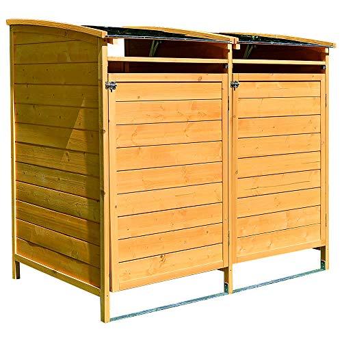 Melko Mülltonnenbox 240 Liter aus Holz 140 x 85 x 127 cm Mülltonnenverkleidung inkl. Rückwand