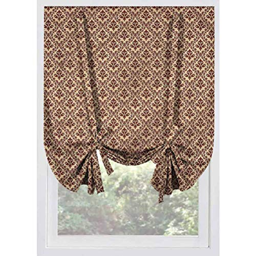 LCGGDB Damask Blackout Small Window Curtain,Old Baroque Natural Room Darkening Small Curtains Rod Pocket Window Curtain Balloon Curtains for Small Windows,Bedroom,39'x63'