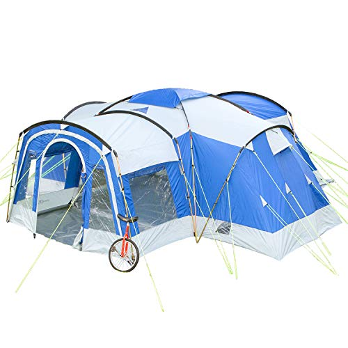 Skandika Nimbus family Group Hybrid Design Tunnel Tent, 3 Sleeping Rooms, Moveable Front Wall, 200...