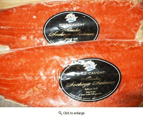 Alaskan Sockeye Salmon Fillets Wild Caught, Frozen At Sea 3 Lb. Avg