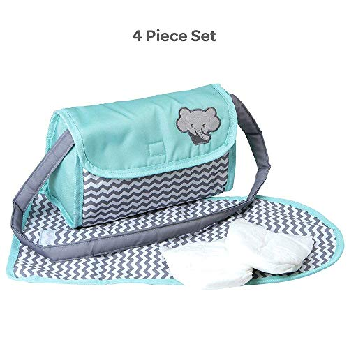 Adora Zig Zag Diaper Bag For Baby Doll Accessories in Teal Pattern Design