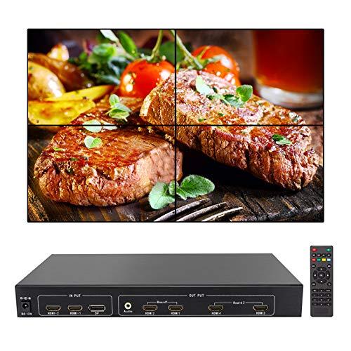 Controlador de pared video 2X2 4K, soporte de procesador de imagen LED/LCD 3840x2160@60Hz hacia fuera poner y entrada DP 1.2 con control RS232 para 4 TV empalme