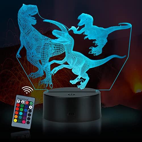 3D Lámpara óptico Illusions Luz Nocturna, JQGO LED Lámpara de Noche 3D de 16 Colores con Control Remotoy Cable USB, Ideas de Festivo y Regalos para Niños Niñas y Adultos (Dinosaurio)