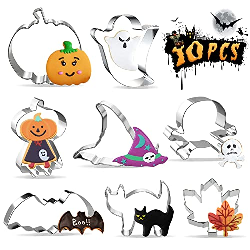 8 PCS Grande Moldes Para Galletas Halloween, Cortadores Halloween de Galletas de Acero Inoxidable para Chuches Galletas...