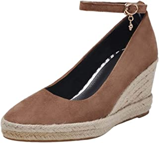 BeiaMina Women Classic Wedge Heel Court Shoes Woven