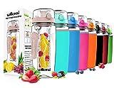 Fruit Infuser Water Bottle 32oz Willceal- Durable, Large - BPA Free Tritan, Flip Lid, Leak Proof Design - Sports, Camping (Rose Gold)