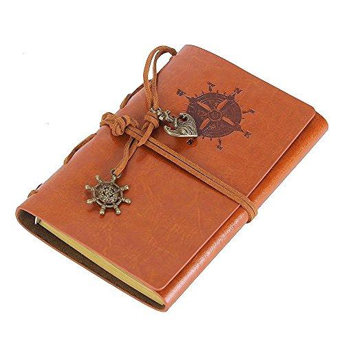 ToiM Tagebuch mit Piraten-Motiv, weiches PU-Leder, lose Blätter, Reisetagebuch, Notizbuch (braun)