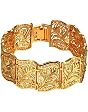 Trendy Fashion 18K Real Gold Plated Fancy Chain ChunkyBracelets Bangles