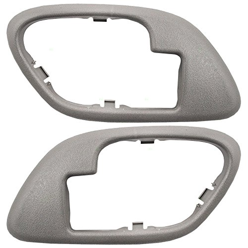 Inside Inner Gray Door Handle Trim Bezels Pair Set Replacement for Cadillac SUV Chevrolet GMC Pickup Truck 15708079 15708080