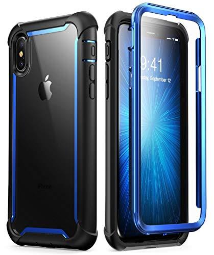 i-Blason iPhone X Hülle iPhone XS Hülle [Ares] Handyhülle 360 Grad Schutzhülle Bumper Case Transparent Cover mit eingebautem Displayschutz für iPhone X / iPhone XS 5.8 Zoll, Blau