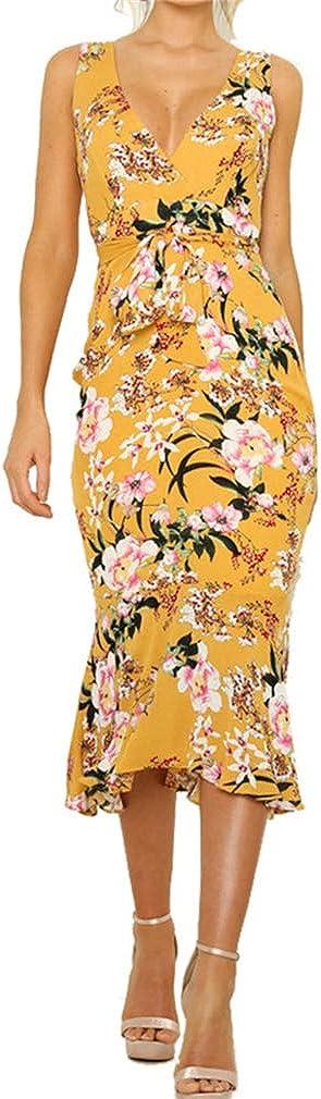 HongHu Women's Vintage Floral Printed V Neck Sleeveless Casual Work Party Midi Pencil Dress