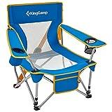 KingCamp Silla de playa plegable, sillas de camping, sillas plegables, respaldo de malla al aire libre, con soporte para tazas, silla de playa, reclinable
