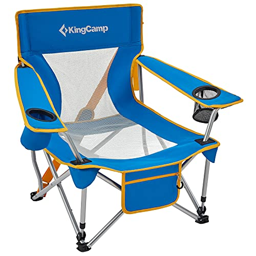 KingCamp Folding Beach Chair Camping Chairs Folding Chairs Outdoor Mesh Back with Cup Holder Low...