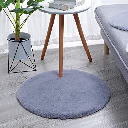 HEQUN Weicher Kunstkaninchenfell-Teppich|Kurzfell-Teppich Kunstfell Hasenfell Imitat | Lammfell-Teppich | Kunstfell Schaffell Imitat | Faux Bett-Vorleger oder Matte für Stuhl Sofa (Grau, 30 x 30 cm)