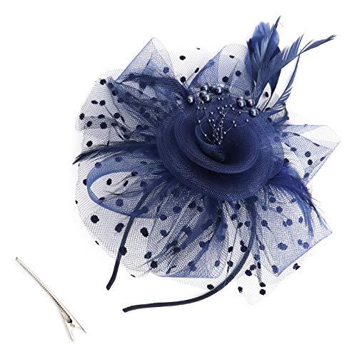 OTOTEC Marineblau Blume Feder Fascinator Hut Stirnband mit Haarspange für Frauen Party Stirnband Hochzeit Zubehör