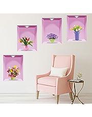 ملص حائط ابداعي ثلاثي الابعاد بتصميم مزهرية لتزيين غرفة المعيشة وغرفة النوم بنفسك بسهولة